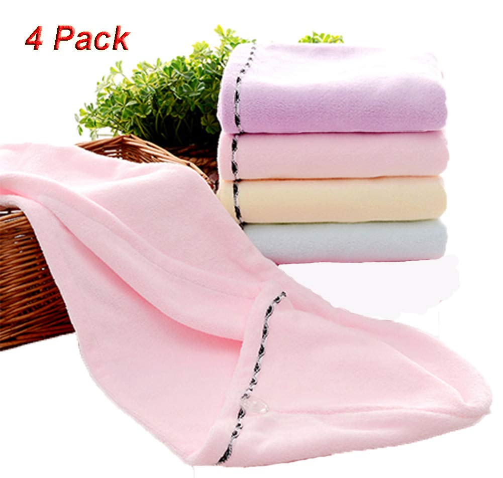 Absorbent Microfiber Hair Drying Towels with Button,Quickly Drying Cap Hair Wraps for Kids Girls Women,4 Pack By Lovelye-Home (Multicolor)