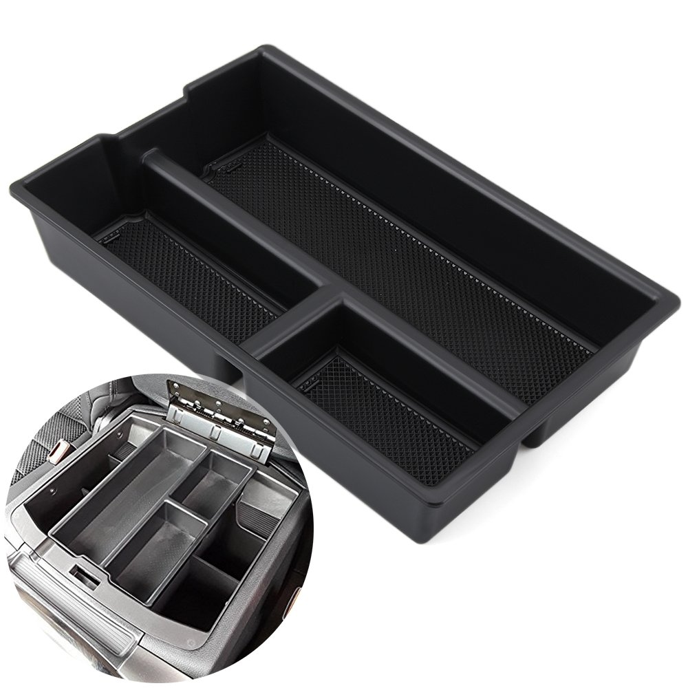 AndyGo Organized Console Device Storage Box Fit for Dodge Ram 1500 Lower Center Console Tray Accessories (Full Console w/Bucket Seats Only) 2009-2018