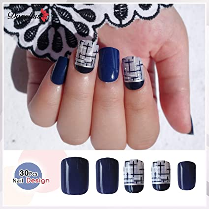 Doreliss uñas postizas 30 Pcs Consejos corto uñas falsas de Pegamento adhesivo de doble cara Cruz
