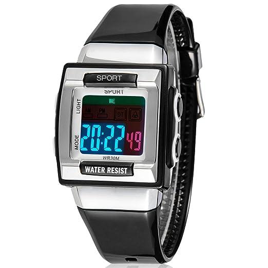 SYNOKE cuadrado Digital reloj, negro banda gris caso Resistencia a los golpes resistente al agua resina iluminador cuarzo reloj deportivo para niños, ...