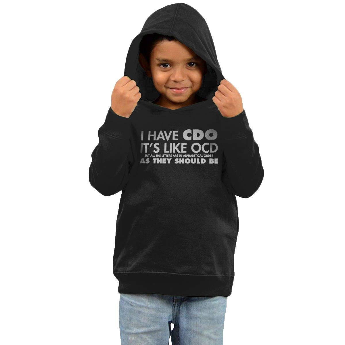 Childrens Hooded Sweater I Have CDO Its Like OCD But All The Letters are in Alphabetical Order Children Sweater Black