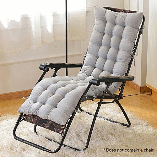 Hootech Chaise Lounge Cushion Patio Chair Cushions Outdoor Mattress 60 Inch for Garden Sun Lounger Recliner Indoor Veranda (Grey)