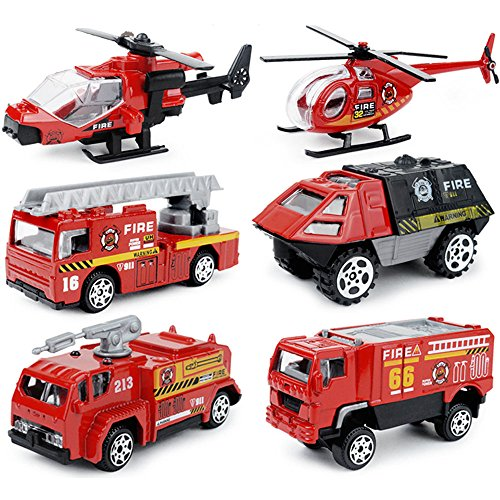 Fireman Truck (6 in 1 Pocket Rescue Fire Engine Truck Vehicle Toy Play Set for Kids Toddlers Mini Action Fire Truck Vehicle Toy)
