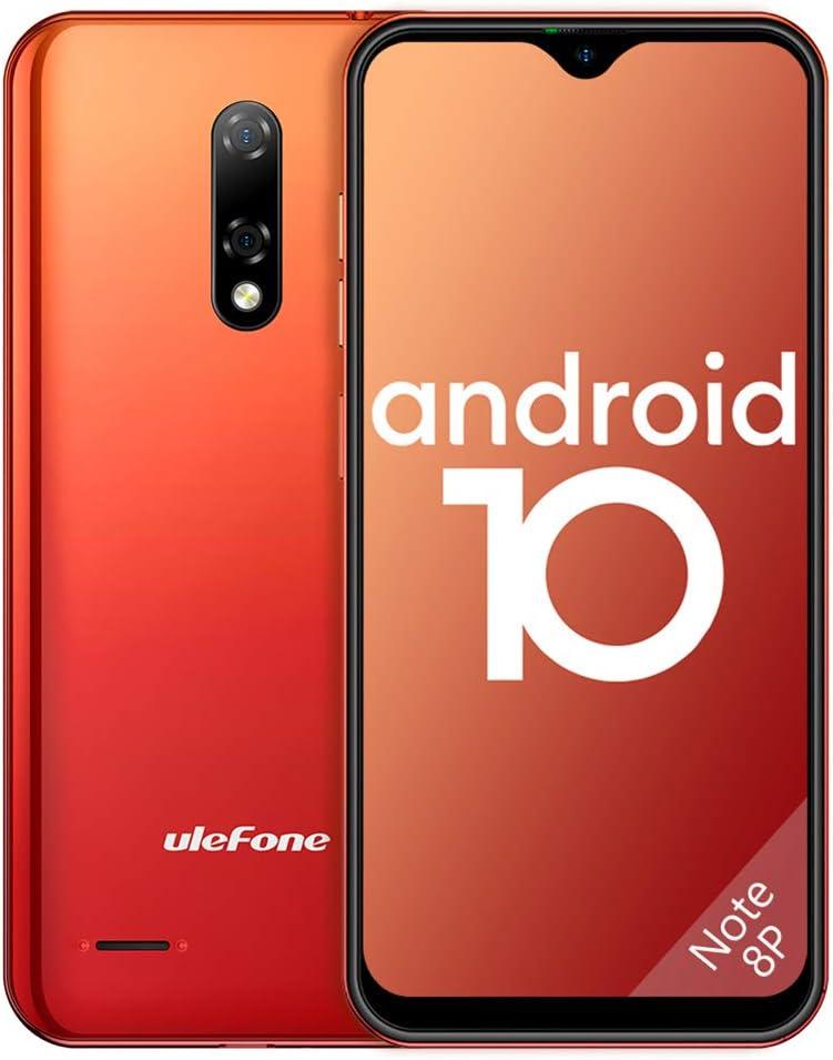 """Smartphone 4G Android 10, Ulefone Note 8P Telefonia Mobile Cellulari 16GB ROM 2GB RAM, 5,5"""" FW+ Schermo Waterdrop, con Doppia SIM e Riconoscimento Facciale, GPS-Arancio"""