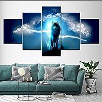 hhlwl Tela Pittura animale Lupo con fulmine cielo 5 Pezzi Pittura di arte della parete Sfondi modulari Poster Stampa soggiorno Decorazioni per la casa-30x40/60/80cm-no frame