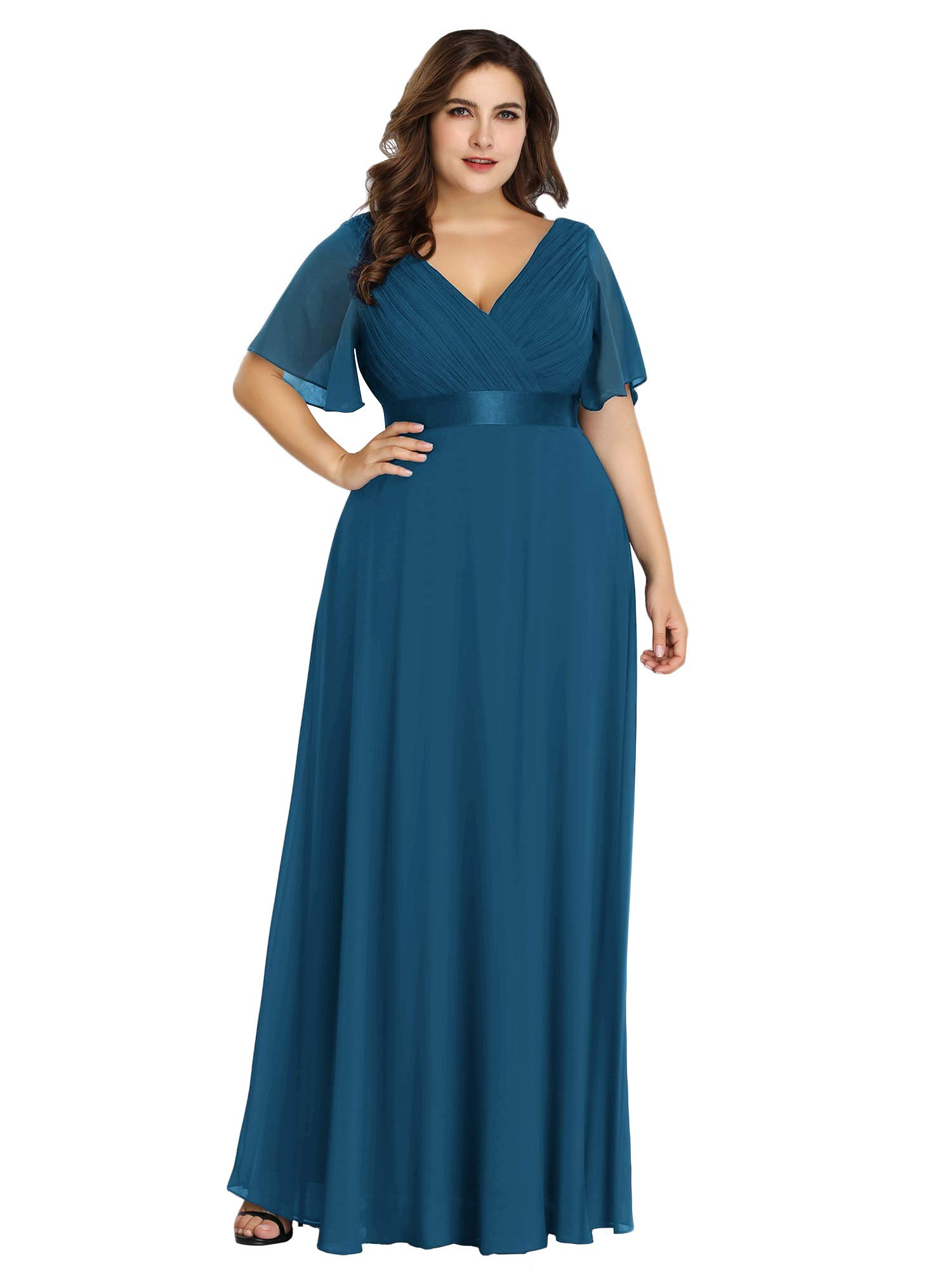 Alisapan Womens A-Line Bridesmaid Dress Plus Size Formal Evening Dresses  Teal US20