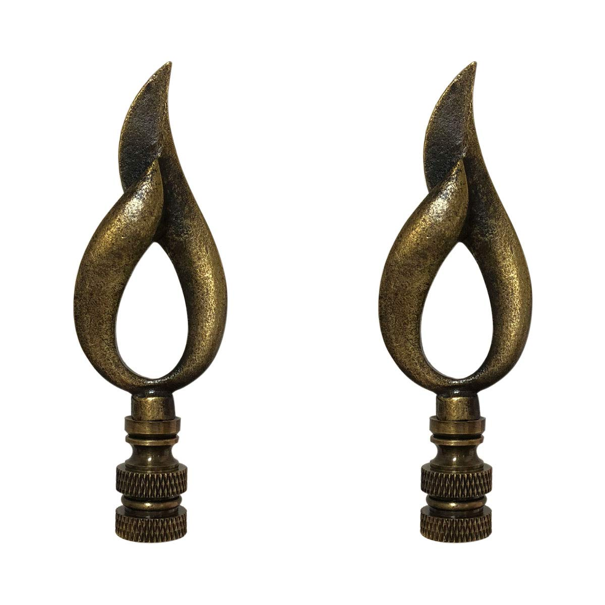 Royal Designs F-5073AB-2 Single Flame Design Lamp Finial, Antique Brass, Set of 2