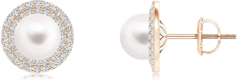 Black Friday–Agua dulce perla cultivada doble de Halo Stud Pendientes con diamantes