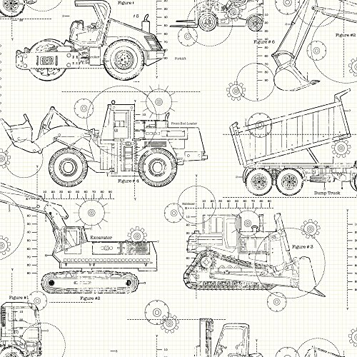 York Wallcoverings KS2349 Cool Kids Construction Blueprint Wallpaper, White/Taupe/Grey/Black (Wallpaper Black White And Square)