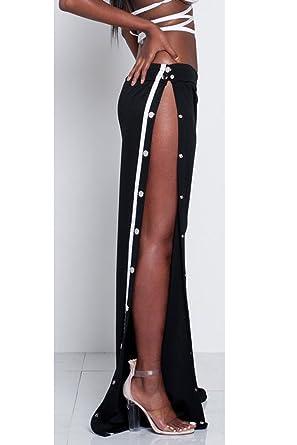 916ad241a49c3 La Mujer Alta De Hendidura Lateral Boton Casual Pantalones Largos Pantalones  De Pierna Ancha  Amazon.es  Ropa y accesorios