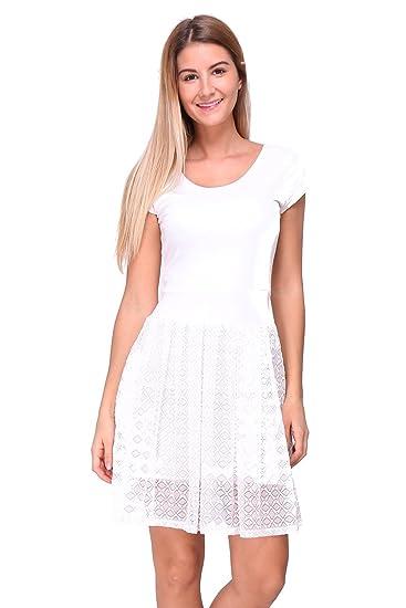 b7a720672a9 Revdelle - Robe col en V en Dentelle Made in France Manches Courts pour  Femme  Amazon.fr  Vêtements et accessoires