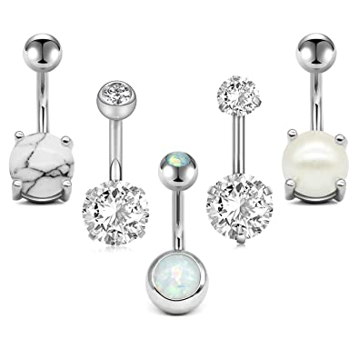 Zolure 14g Silver Belly Button Rings Surgical Steel Short Belly Ring Navel Rings Diamond Opal Cz Pearl Marble 5pcs