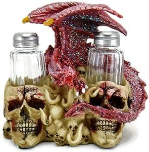 3D Dragon on Skulls Salt & Pepper Shakers Table Set (Red)