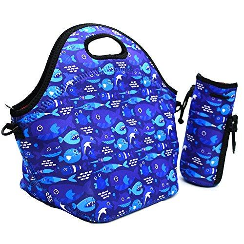 Neoprene Lunch Tote ,Insulated Waterproof Lunch Bags For Men, Women, Adults, Kids, Girls. Reusable, Washable, Water-proof Foldable, Light, Zipper (BLUE SHARK+ BOTTLE (Tech Zipper Bottle Suit)