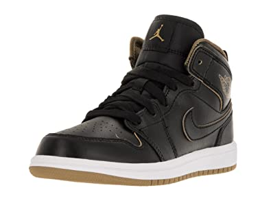 99bcf8978eb09 Jordan Nike Kids 1 Mid Bp Black Metallic Gold White Basketball Shoe 10.5  Kids