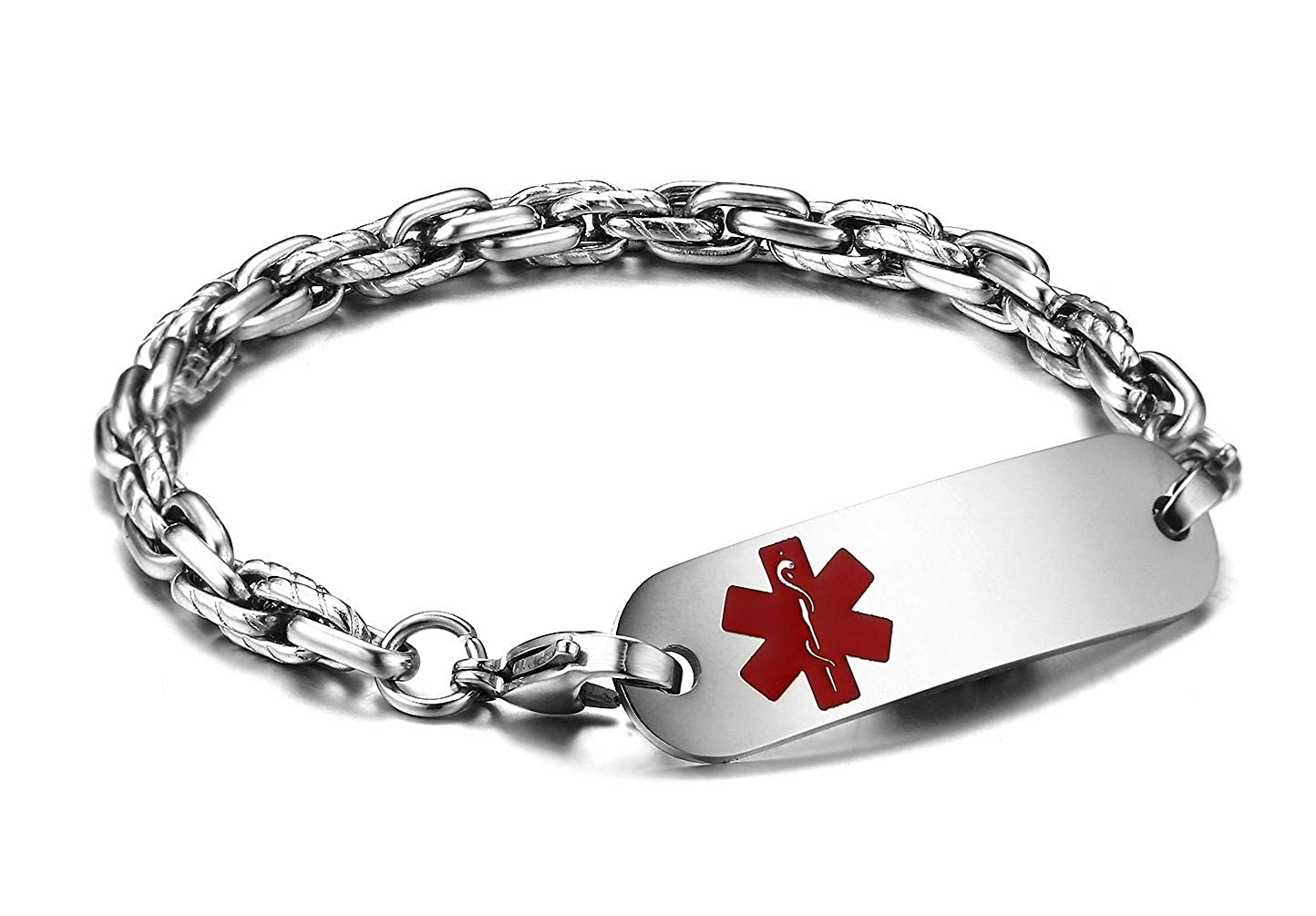 Silver JF.JEWELRY Stainless Steel Byzantine Link Medical Alert ID Bracelet for Women and Men Free Engraving
