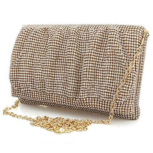 Chain Women's Purse Bag Evening Clutch Glitter Party Gold Wedding with Handbag qrz7q4nt