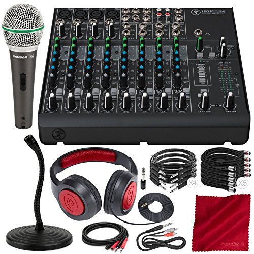 (Mackie 1202VLZ4 12-Channel Compact Mixer and Premium Accessory Bundle w/Professional Microphone, Mic Stand, Closed-Back Headphones, 11X Cables, and Fibertique Cloth)