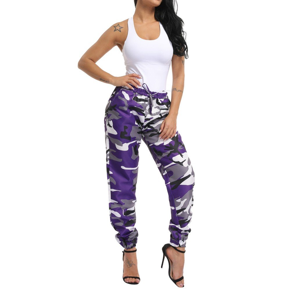Womens Camouflage Pants Cargo Trousers High Waisted Slim Fit Drawstrings Jogger Sweatpants with Pockets