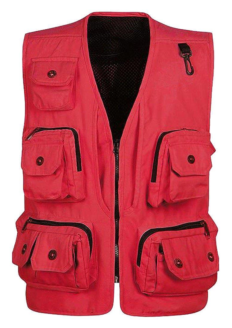 Red Cromoncent Men's Casual Loose Fit Multi Pocket Workout Workout Workout Safari Vest Coat Waistcoat 8c61f8