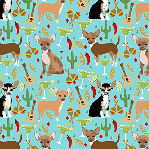 Chihuahua Fabric Chihuahua Fiesta Fabric Cute Dogs And Margaritas Celebration Fabric - Blue by Petfriendly Printed on Eco Canvas Fabric by the Yard by Spoonflower