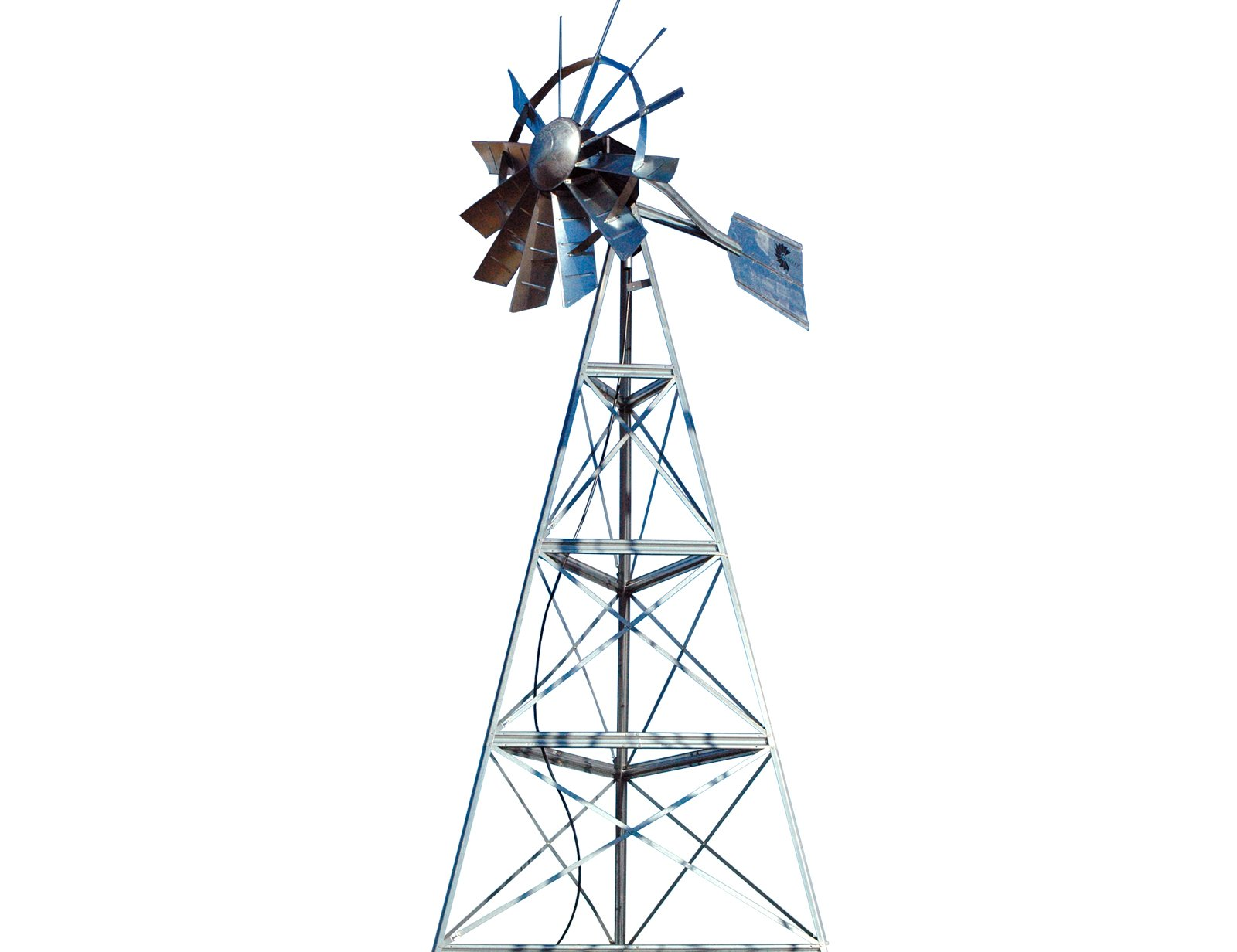 Outdoor Water Solutions OWMS0015 16-Feet Ornamental Galvanized 3-Legged Windmill Complete with Windmill Assembly