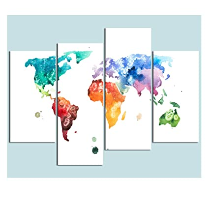 Visual Art Decor Large Watercolor World Map Wall Art Canvas Prints Creative Map Painting Poster Prints Home Wall Decor Ready To Hang 48 X32
