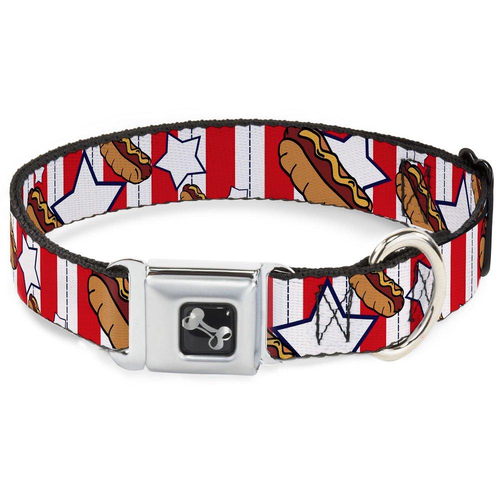 Buckle-Down Seatbelt Buckle Dog Collar Hot Dogs 1.5  Wide Fits 16-23  Neck Medium