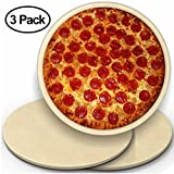 CastElegance 3 Pack 14'' Round Pizza Stone with Thermarite (Engineered Tuff Cordierite). Durable, Certified Safe. Good in Ovens & Grills. Recipe Ebook+ Free Scraper