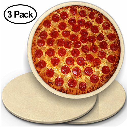 CastElegance 3 Pack 14'' Round Pizza Stone with Thermarite (Engineered Tuff Cordierite). Durable, Certified Safe. Good in Ovens & Grills. Recipe Ebook+ Free Scraper by CastElegance