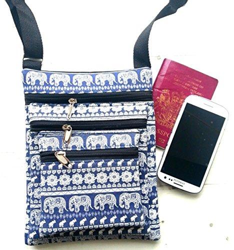 Triple Pocket passaporto borsa a tracolla con elefante design (blu)