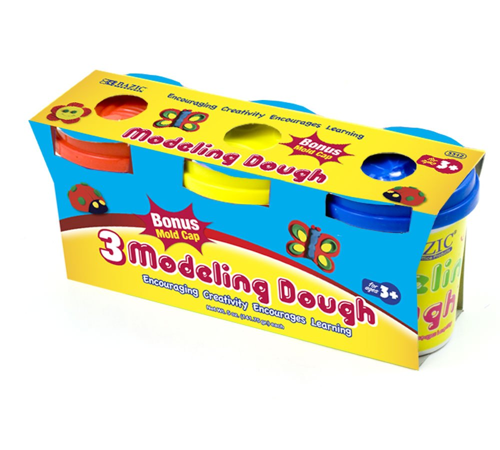 BAZIC 5 Oz. Multi Color Modeling Dough (3/Pack) (Case of 24) (3312-24) by Bazic