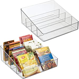mDesign Plastic Food Packet Organizer Bin Caddy - 4 Divided Sections - Storage Station for Kitchen, Pantry, Cabinet, Countertop - Holder for Seasoning Pouches, Soups, Spices, Snacks - 2 Pack - Clear