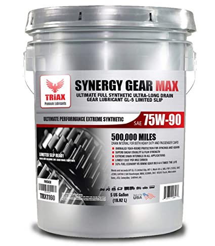 Triax Synergy Gear Max 75W90 GL-5 Limited Slip - Ultra Long Drain 500k  Miles  Manual Transmission, Gear/Differential Lubricant