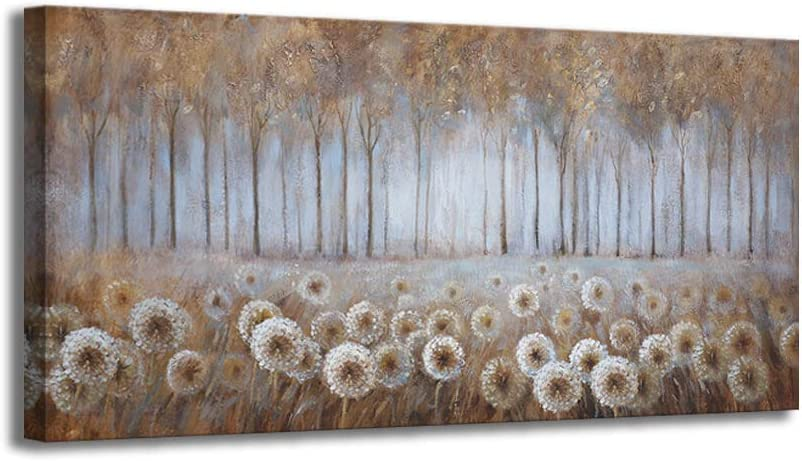 Large Living Room Wall Decor Brown Dandelion Canvas Wall Art Abstract Tree Forest Theme Picture Wall Decoration Modern Framed Prints Artwork Ready to Hang for Bedroom Home Wall Decor Size 24x48 inch
