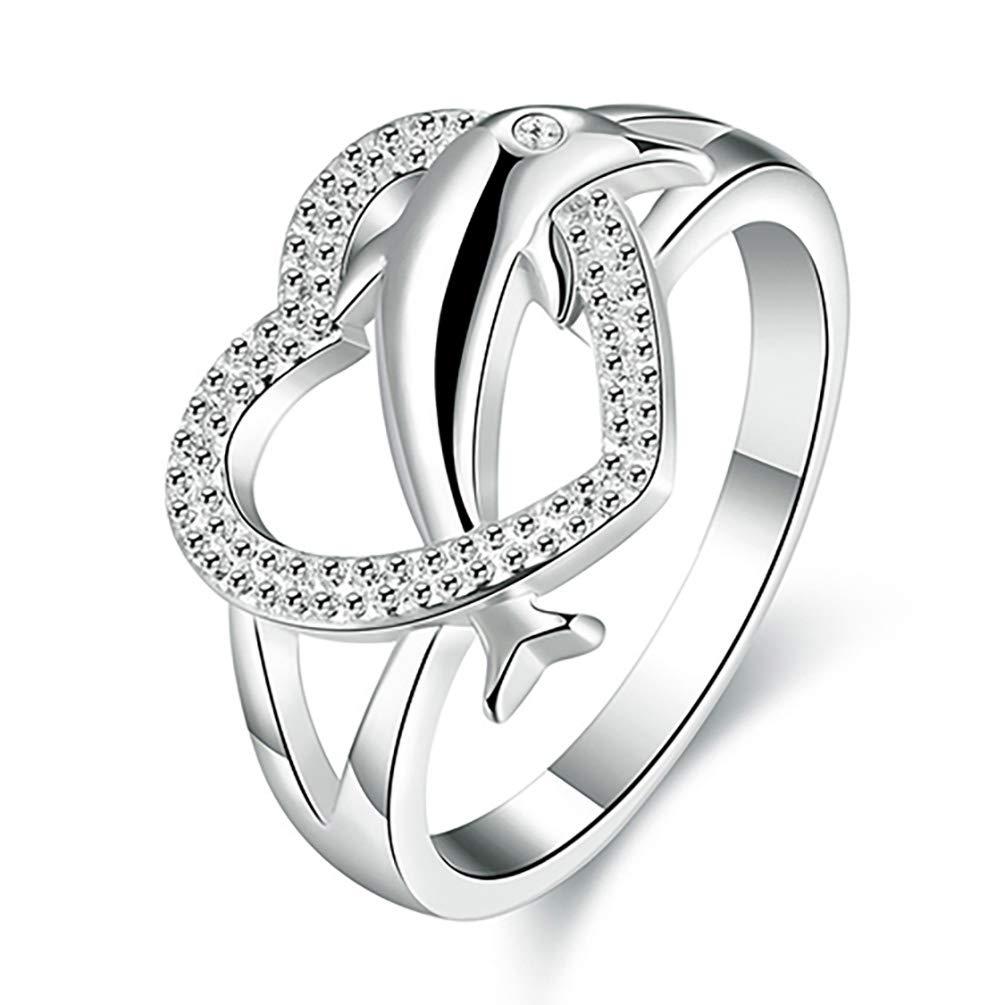 Anello da donna in argento 925placcato delfino ciondolo cuore finger Ring Jewelry for party Prom Amesii 7 colore: 7 cod. AME