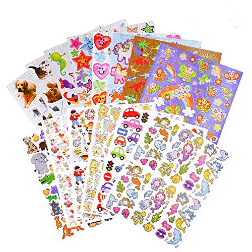 BREEZYPALS Kids Stickers, 700+ Count Waterproof Laser Stickers Set for Children✮ Kids✮ Scrapbook, 16 Different Sheets, Including Heart, Star, Dinosaurs, Animals, Cars, Airplanes, Ships, Pets and to