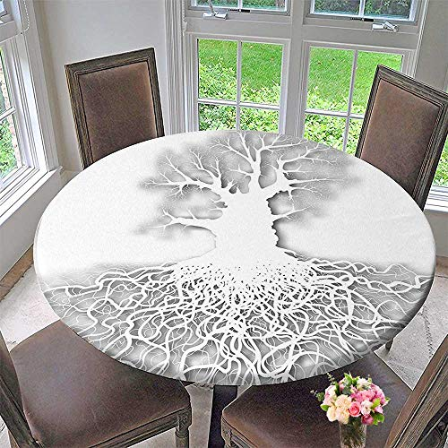 Mikihome Modern Table Cloth Life Decor Collection Cut Out Art Leafless Oak Tree Mature Root System Underneath Indoor or Outdoor Parties 50
