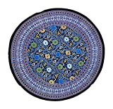 India Arts Sunflower Tablecloth Round 72'' 100% Cotton Purple on Black