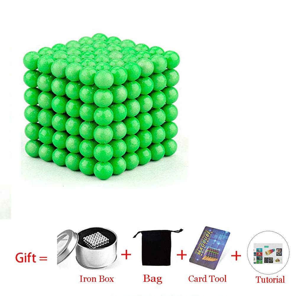 Green Beautychen Magnetic Cube 216pcs 5mm Magnets Blocks Magnetic Square Cube Childrens Puzzle Magic Cubes DIY Educational Toys for Kids Intelligence Development and Stress Relief