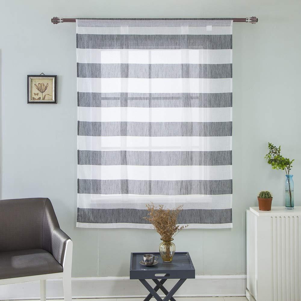 Clothink HxW:100x80cm Raffrollo Schlaufen Gardinen Voile Vorh/änge grau