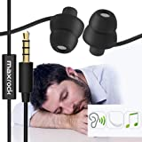 MAXROCK (TM) Unique Total Soft Silicon Sleeping Headphones Earplugs Earbuds with Mic for Cellphones,Tablets and 3.5 mm Jack Plug (Black) (Color: Black)