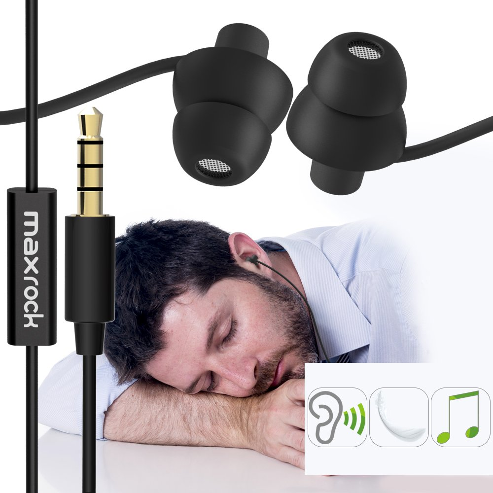 MAXROCK (TM) Unique Total Soft Silicon Sleeping Headphones Earplugs Earbuds with Mic for Cellphones,Tablets and 3.5 mm Jack Plug (Black) by MAXROCK