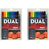Tombow 56167 Dual Brush Pen Art Markers, Primary, (10pcs) - 2 Pack