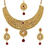 Zeneme Gold-Plated Choker Necklace, Drop Earring & Mangtika Set for Women