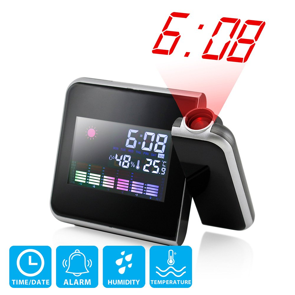 GEARONIC TM Projection Digital Weather Black LED Alarm Clock Color Display w/LED Backlight by GEARONIC TM