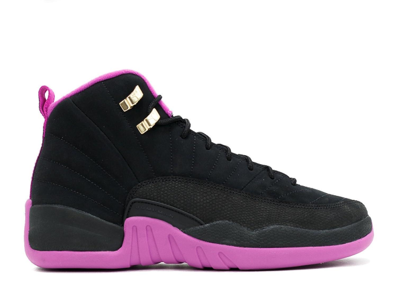 Jordan Air 12 Retro GG Big Kid s Shoes Black Metallic Gold Violet 510815-018