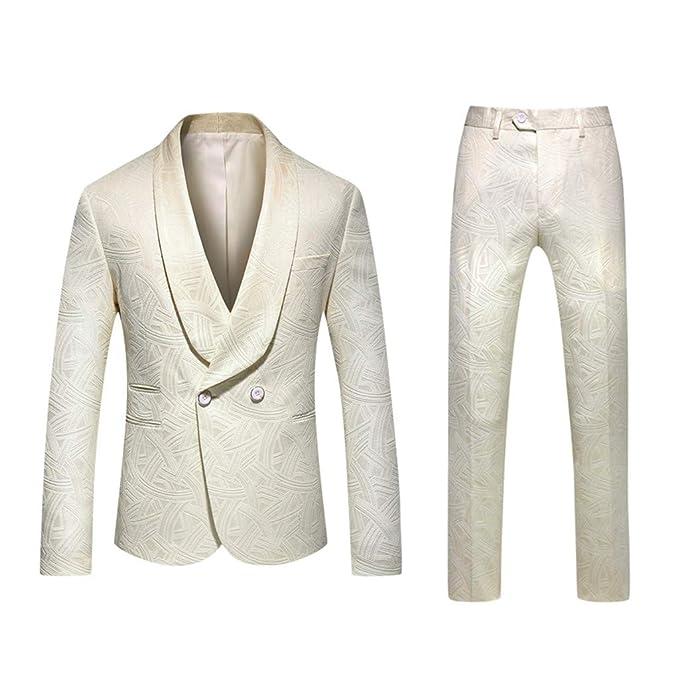 Baohooya Traje para hombre Vestir Traje Suit 2 Piezas Chaqueta ...
