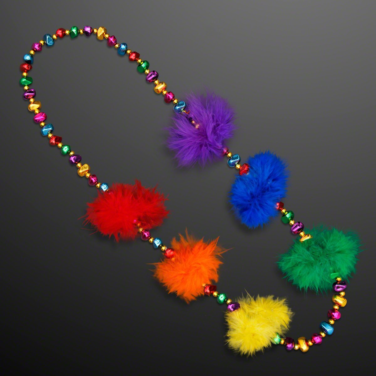 FlashingBlinkyLights Rainbow Feather Mardi Gras Throw Beads (Set of 12)
