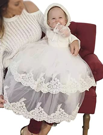 43aef3b1146 Amazon.com  Aorme White Baby-Girls Christening Gown Dresses with Bonnet  Long Ivory Tulle Lace Edge  Clothing